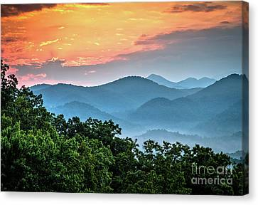 Canvas Print featuring the photograph Sunrise Over The Smoky's by Douglas Stucky