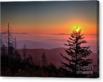 Canvas Print featuring the photograph Sunrise Over The Smoky's IIi by Douglas Stucky