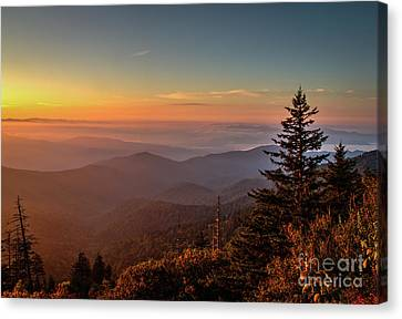 Canvas Print featuring the photograph Sunrise Over The Smoky's V by Douglas Stucky