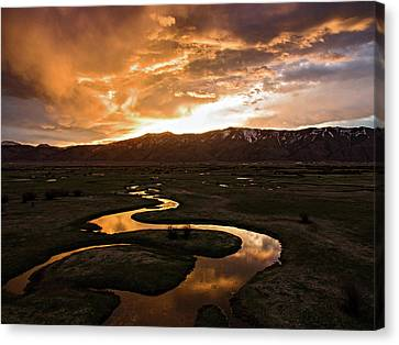 Sunrise Over Winding River Canvas Print