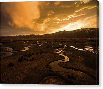 Sunrise Over Winding Rivers Canvas Print