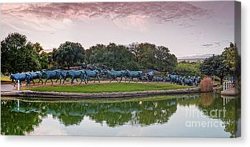 Sunrise Panorama Of Cattle Drive Sculpture At Pioneer Plaza - Downtown Dallas North Texas Canvas Print by Silvio Ligutti