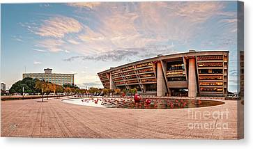 Sunrise Panorama Of Downtown Dallas City Hall And Park Plaza Reflection Pool - North Texas Canvas Print by Silvio Ligutti