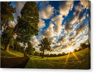 Canvas Print featuring the photograph Sunrise Path At Meadows Edge by Chris Bordeleau