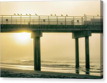 Canvas Print featuring the photograph Sunrise Pier In Alabama  by John McGraw