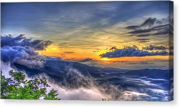 Sunrise Pink Beds Overlook Blue Ridge Parkway Canvas Print by Reid Callaway