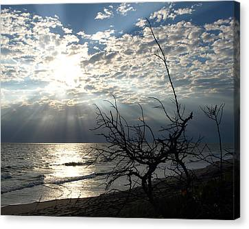 Sunrise Prayer On The Beach Canvas Print by Allan  Hughes