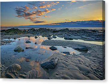 Canvas Print featuring the photograph Sunrise Reflections On Wells Beach by Rick Berk