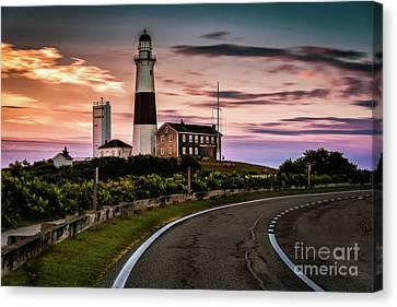 Sunrise Road To The Montauk Lighthous Canvas Print