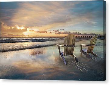 Canvas Print featuring the photograph Sunrise Romance by Debra and Dave Vanderlaan