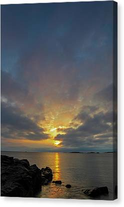 Canvas Print featuring the photograph Sunrise Sea View  by Juergen Roth