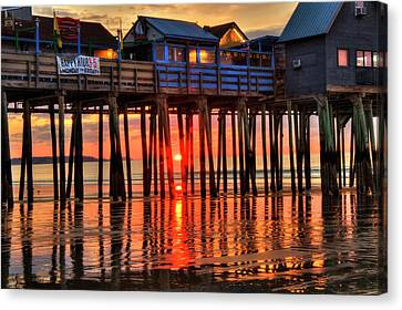 Canvas Print featuring the photograph Sunrise Seascape - Old Orchard Beach Pier - Maine by Joann Vitali