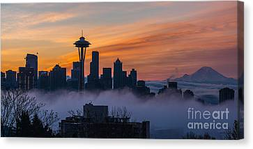 Sunrise Seattle Skyline Above The Fog Canvas Print by Mike Reid