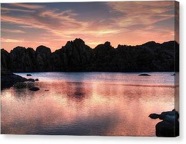 Watson Lake Canvas Print - Sunrise Silhouettes by Donna Kennedy