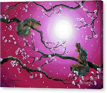 Sunrise Squirrels Canvas Print by Laura Iverson