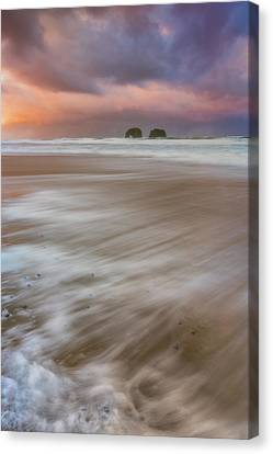 Canvas Print featuring the photograph Sunrise Storm At Twin Rocks by Darren White