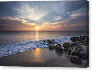 Sunrise Surf Canvas Print by Debra and Dave Vanderlaan