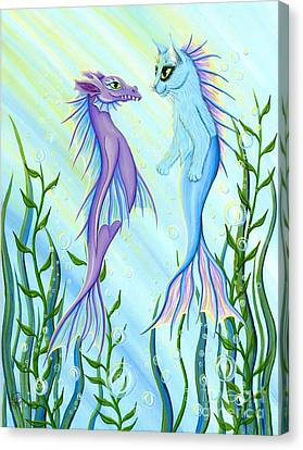 Canvas Print featuring the painting Sunrise Swim - Sea Dragon Mermaid Cat by Carrie Hawks