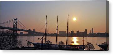 Sunrise - Tall Ship Gazela At Penns Landing Canvas Print by Bill Cannon