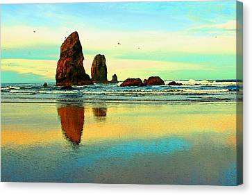 Sunrise  The Needles At Cannon Beach Canvas Print by Margaret Hood