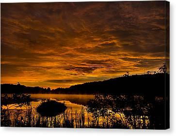 Sunrise Torpy Pond Canvas Print by Rhys Templar