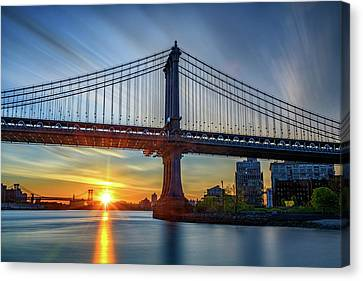 Williamsburg Canvas Print - Sunrise Under The Manhattan Bridge by Rick Berk
