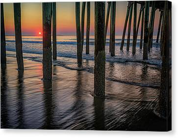 Canvas Print featuring the photograph Sunrise Under The Pier by Rick Berk