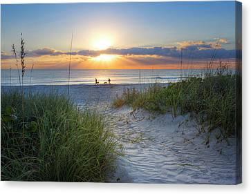 Sunrise Walk Canvas Print by Debra and Dave Vanderlaan