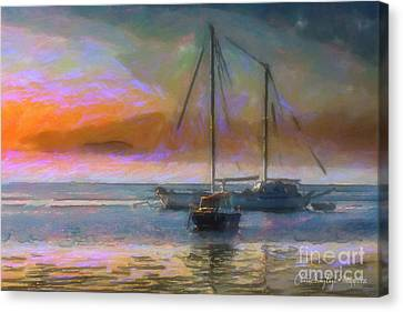 Sunrise With Boats Canvas Print