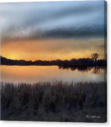 Sunrise On A Frosty Marsh Canvas Print by RC deWinter