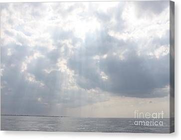 Reflection Of Sun In Clouds Canvas Print - Suns Rays Over The Atlantic Ocean by John Telfer