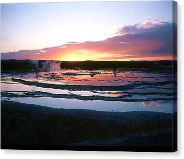 Sunset - Great Fountain Geyser Canvas Print