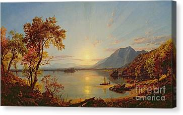 Sunset  Lake George Canvas Print by Jasper Francis Cropsey
