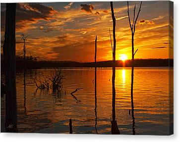 Canvas Print featuring the photograph sunset @ Reservoir by Angel Cher