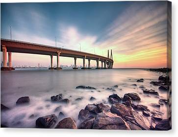 Sunset - Sea Link Canvas Print by Brendon Fernandes