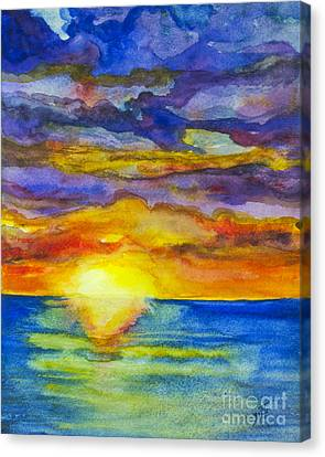 Canvas Print featuring the painting Sunset 1 by Suzette Kallen