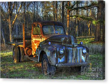 Sunset 1947 Ford Stakebed Pickup Truck Art Canvas Print