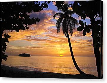 Sunset 3-st Lucia Canvas Print