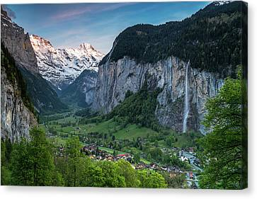 Sunset Above The Lauterbrunnen Valley Canvas Print by James Udall
