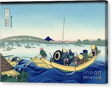 Sunset Across The Ryogoku Bridge From The Bank Of The Sumida River At Onmagayashi In Edo Canvas Print by Hokusai