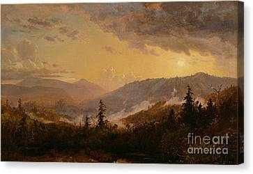 Sunset After A Storm In The Catskill Mountains Canvas Print by Jasper Francis Cropsey