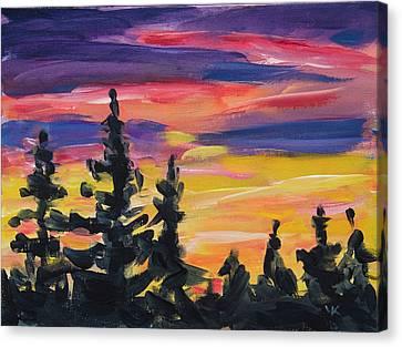 Canvas Print featuring the painting Sunset Alaska by Yulia Kazansky
