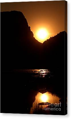 Sunset Along The Yampa River Canvas Print by Max Allen