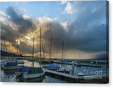Sunset And Boats At The Lake Canvas Print