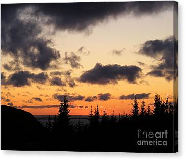 Canvas Print featuring the photograph Sunset And Dark Clouds by Barbara Griffin