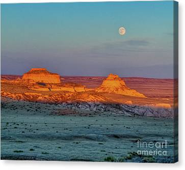 Sunset And Moon-rise Over Pawnee Buttes Canvas Print
