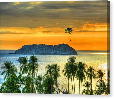Sunset And Parasail Canvas Print by Debbi Granruth