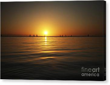 Sunset And Sailboats Canvas Print by Brandon Tabiolo - Printscapes