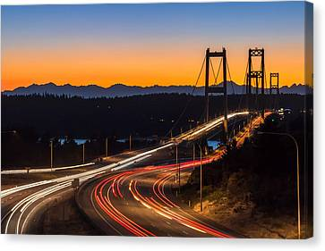 Sunset And Streaks Of Light - Narrows Bridges Tacoma Wa Canvas Print by Rob Green