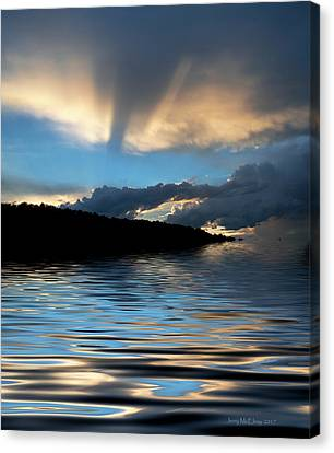 Reflection Of Sun In Clouds Canvas Print - Sunset And Sun Rays by Jerry McElroy